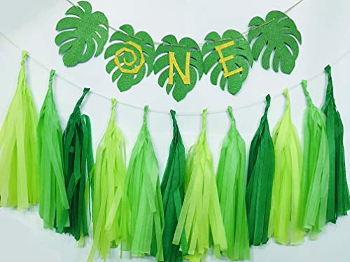 1st Birthday Decorations, Moana One Banner Gold and Green Glitter Birthday Highchair Banner for First Baby Boy and Girl Birthday Party Table/Backdrop/Photo Prop Decorations