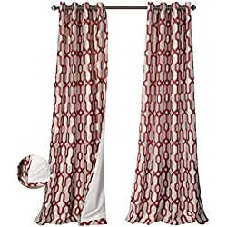 MYSKY HOME Lined Jacquard Room Darkening Grommet top Curtain Panel, 52 by 84 inch, Red (1 Panel)