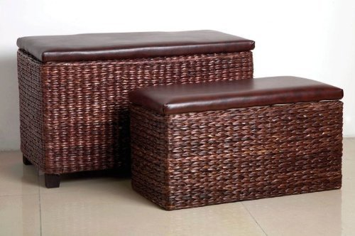 2 BROWN CATTAIL LEAF STORAGE POUFFE BASKET TABLE CHEST LEATHER by Premier