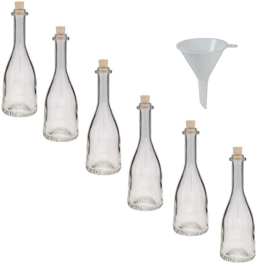 Viva Haushaltswaren - Juego de Botellas pequeñas de Cristal (6 Unidades 200 ml tapón de Corcho rellenables Incluye Embudo 7 cm de diámetro)