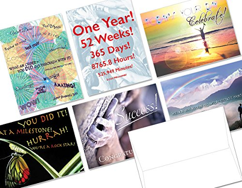 Sobriety Anniversary- 36 Note Cards - 6 Designs - Blank Cards - White Envelopes Included