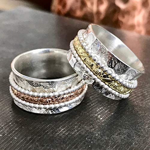 Abstract silver and gold wedding ring wide paisley spinner band for women size 6 to 9