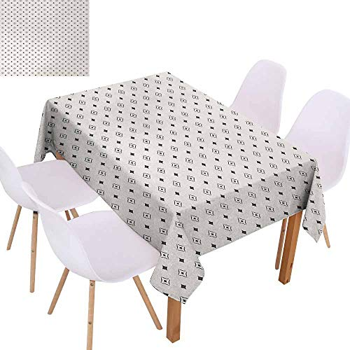 UHOO2018 Geometric,Burgundy Table Cloth,Old Fashioned Wallpaper Design with Floral Like Geometrical Icons Art,for Patio Garden Tabletop Decor,Charcoal Grey Beige,70