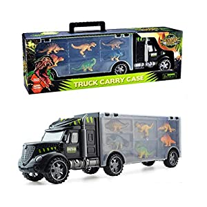 ETYC INC Carrier Truck Toys with 6 Dinosaur Models Best Boys Gift Cars for 3-8yr Kids Cultivate Induction with Roll Wheel and Handle 16''