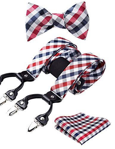 HISDERN Check Stripe 6 Clips Suspenders & Bow Tie and Pocket Square Set Y Shape Adjustable Braces,Red & White,One Size