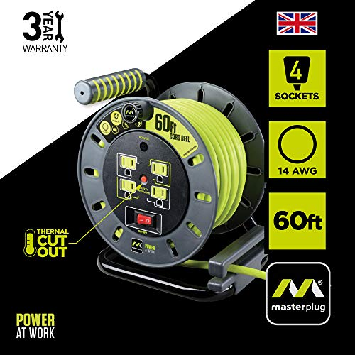 Masterplug 60ft Heavy Duty Extension Cord Open Reel with 4 120V / 10 amp Integrated Outlets from Masterplug