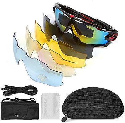 Leaning Tech Unisex Bicicleta Gafas Gafas de sol para hombre y mujer, polarizado Cilindro de gafas deportivas de protección Gafas con 5 lentes ...
