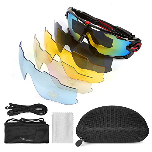 LeaningTech Sports Polarized Sunglasses UV400 Unbreakable Sports Glasses with 5 Changeable Lens for Men or Women Cycling Skiing Baseball Riding Driving Running Golf Fishing Sport Outdoor - Sunglasses Changeable Lens