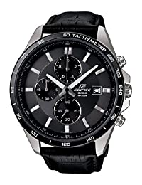 Casio Men's Edifice EFR512L-8AV Black Leather Quartz Watch