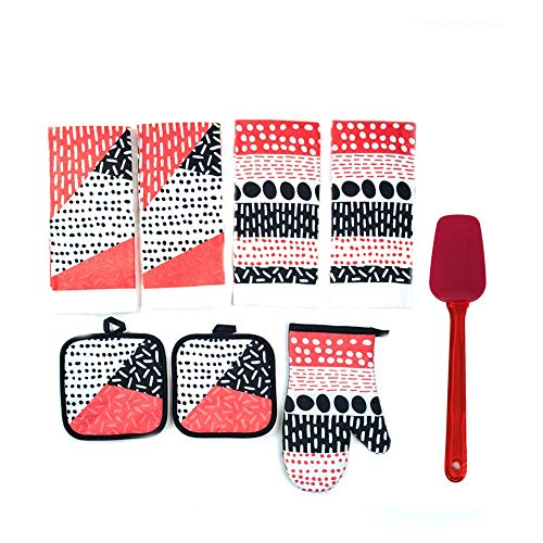 Modern Dots Kitchen Linen Set of 7-4 Towels, 2 Pot Holder, 1 Oven Mitt with Silicone Spoon Spatula