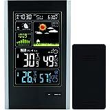 Atomic estación meteorológica inalámbrica con sensor de interior/exterior inalámbrico–tg645Alertas de visualización a color estación meteorológica reloj despertador con la temperatura, previsión por Think Gizmos., alto, Negro