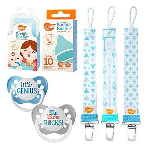 - Ulubulu Little Genius and My Mom Rocks Designs/Boy Pacifier Clip Combo/Nasal Aspirator Boogie Buster and 10 Disposable Tips, 0-6 Months