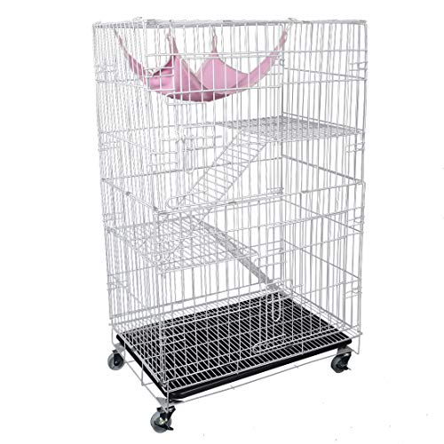 AVEEN 3-Tier Cat Cage Playpen Box Kennel Crate with 2 Front Doors & Free Hammock – 40 x 24 x 17 Inches(White)
