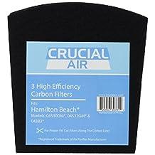 3-pack Carbon Filters for Hamilton Beach True Air Odors, Odor Eliminator, Tobacco; For Hamilton Beach Models 04530GM, 04532GM, 04383, 04531GM, 04530F, 04532GM, 04251, 04271, 04530, 04530F, HAP201, HAP201-U & 16180, Part # 04294G