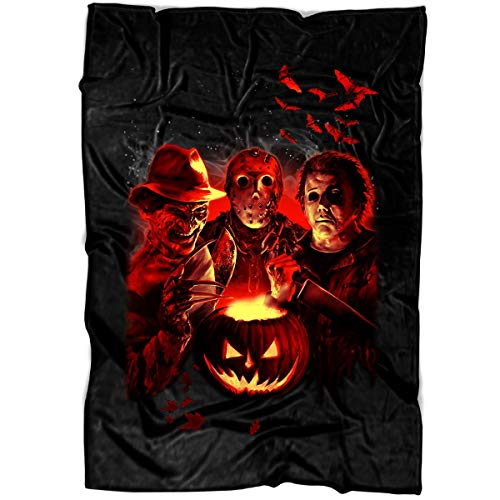 Arkstore Jason Freddy Leather Face Soft Fleece Throw Blanket, Happy Halloween Movie Fleece Luxury Blanket (Large Blanket (80