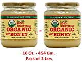 Organic Raw Honey - 100% Certified - Special Premium Choice - Unprocessed, Unpasteurized - Kosher 16Oz., 454 Gm. Pack of 2 Jars