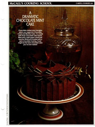 Creme De Menthe Recipe (McCall's Cooking School Recipe Card: Cakes, Cookies 26 - Crème-de-Menthe Chocolate Cake (Replacement McCall's Recipage or Recipe Card For 3-Ring Binders))