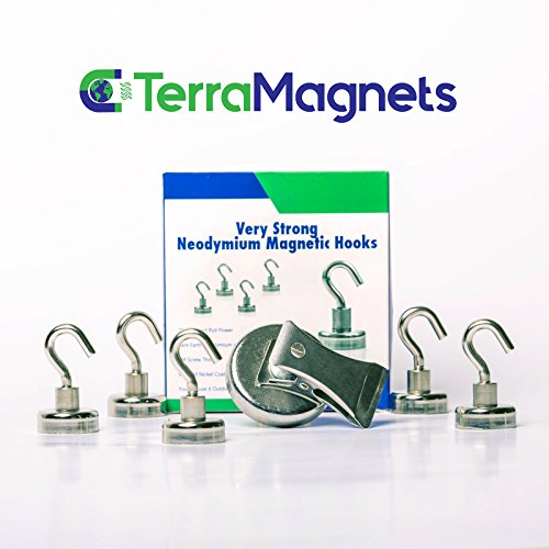 Neodymium 25lbs Magnetic Hooks ,Heavy duty, strong and powerful Magnets ,5 pack + 1 magnetic clip by Terra Magnets