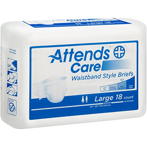 [Attends Incontinence Care Briefs for Adults, Waistband Style, Large, 18 Count (Pack of 4)] (Attends Briefs Large Waistband)