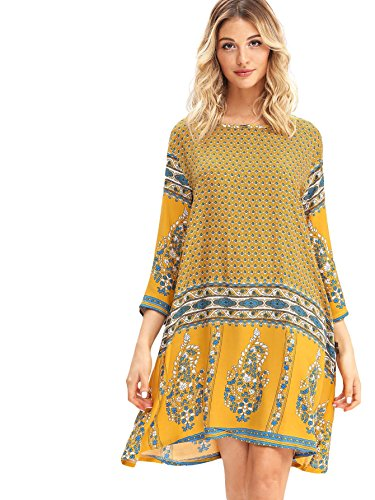 MAKEMECHIC Women's Ethnic Tribal Floral Print 3/4 Sleeve Casual Short Boho Dress Yellow XL