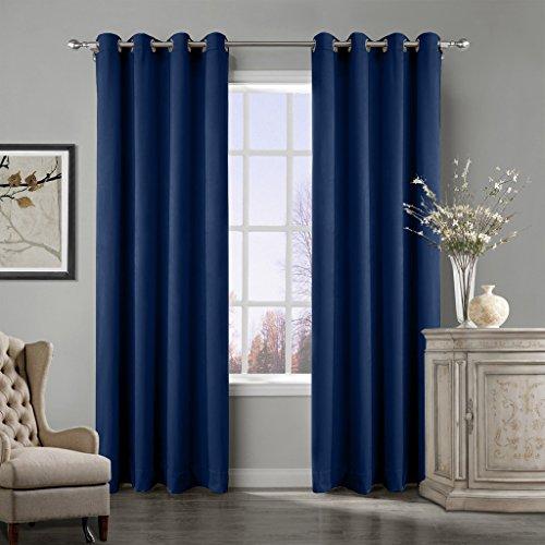 (COFTY Super Soft Matt Luxury Velvet Curtain Drape Sapphire Blue 50Wx96L Inch(set of 2 panels) - Nickle Grommet - BIRKIN Collection Classroom  Theater  Bedroom  Living Room  Hotel)