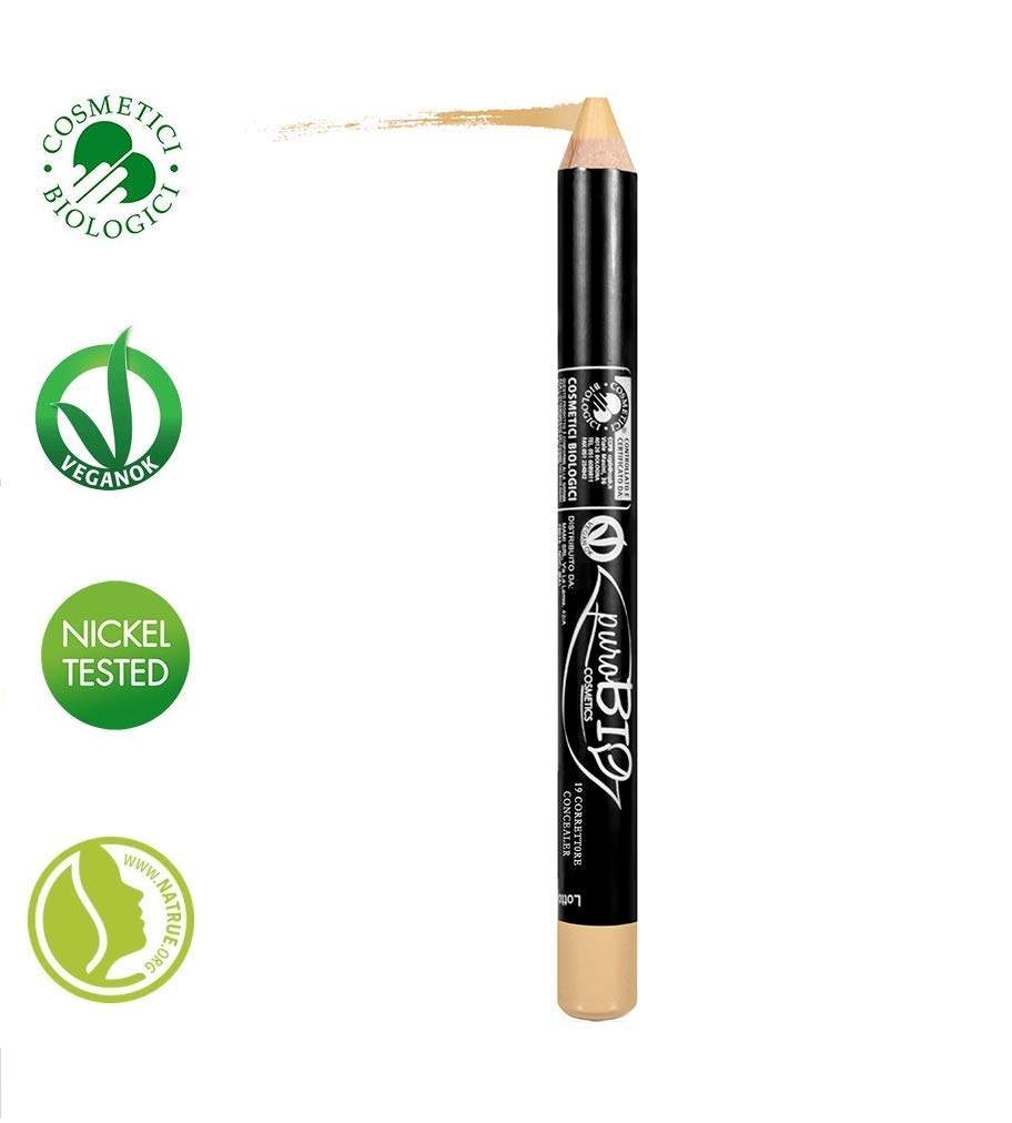 PuroBIO Certified Organic Multitasking Corrector Stick no 19 Olive Beige - for Red Blemishes,Capillaries. Contains Vitamins, Soy and Apricot Oil. ORGANIC. VEGAN. NICKEL TESTED, MADE IN ITALY
