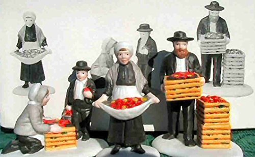 Painted Amish Buggy - Department 56 - Amish Family --Erroneous Mustache Edition of 1st Version -- Set of 3 - New England Village Series - #59480 - Figurine Shows Father With Mustache Which Is Against Amish Customs