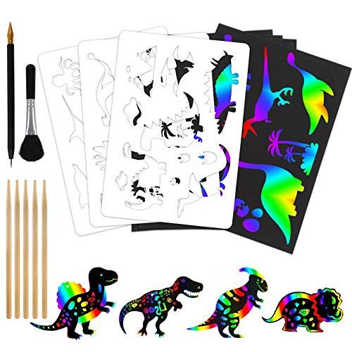 Koogel Kratzbilder für Kinder, 50 Große Blätter Regenbogen Kratzpapier Kritzelbuch mit Schablonen Holzstiften Geschenke für Kinder Mädchen ab 4 Jahre zum Zeichnen Basteln A4 (21 x 28cm)
