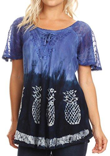 Sakkas 18719 - Ivanna Womens Short Raglan Lace Sleeve Flowy Top Blouse Tie-dye & Batik - Blue - OS