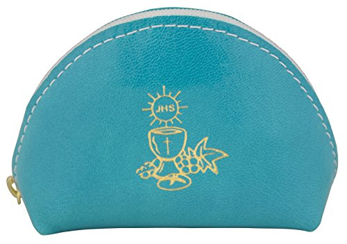 First Communion Rosary Pouch in Italian Leather (Blue)