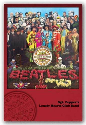 The Beatles Sgt. Pepper's Lonely Hearts Club Band, Red Music Poster Print