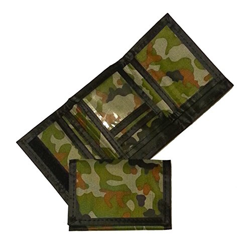 Fun Express Army Camouflage Wallet Nylon Trifold Kids Wallets for Boys Camo Hunting - 1 Piece