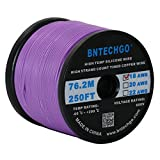 BNTECHGO 18 Gauge Silicone Wire Spool Purple 250 feet Ultra Flexible High Temp 200 deg C 600V 18AWG Silicone Rubber Wire 150 Strands of Tinned Copper Wire Stranded Wire for Model Battery Low Impedance