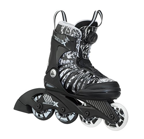 K2 Skate Boy's Sk8 Hero X Boa Inline Skates, Black/White,  11-2 by K2 Skate