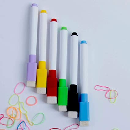 6x Black Dry Wipe Erasable Whiteboard Marker Pens Fine//Medium Magnet Lid Eraser