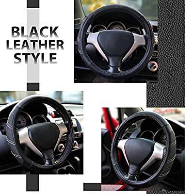 Elantrip Sport Leather Steering Wheel Cover 14 1/2 inch to 15 inch Universal, Padded Soft Grip Breathable for Car Truck SUV Jeep, Anti Slip Odorless Black: Automotive