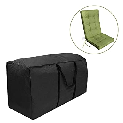 skyning Cushion Storage Bag, Outdoor Patio Furniture Seat Cushion Storage Bag Black Large Christmas Tree Storage Container Dust Cover Premium Outdoor Cover with Durable and Water Resistant Fabric: Home & Kitchen