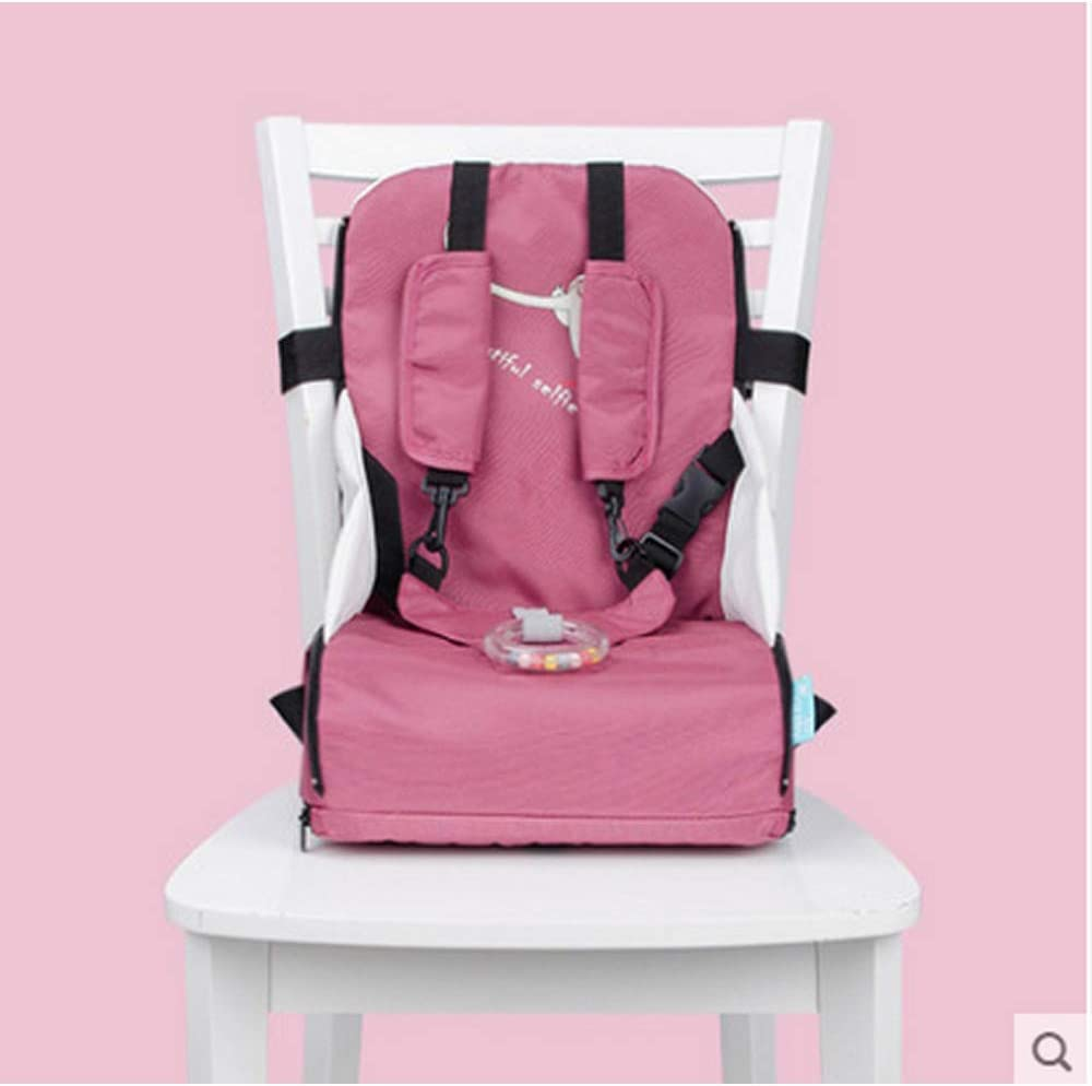 JIRCA Baby Table Stool Childrens Portable Foldable Harness Baby Toddler Infant Dining Chair On The Go Travel Storage Chair Pink Baby Booster Seat