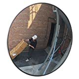 "Se-Kure Domes & Mirrors DCVO-18T-PB Outdoor Acrylic Convex Mirror/2 Telescopic Mounting Brackets, 18"" Diameter"