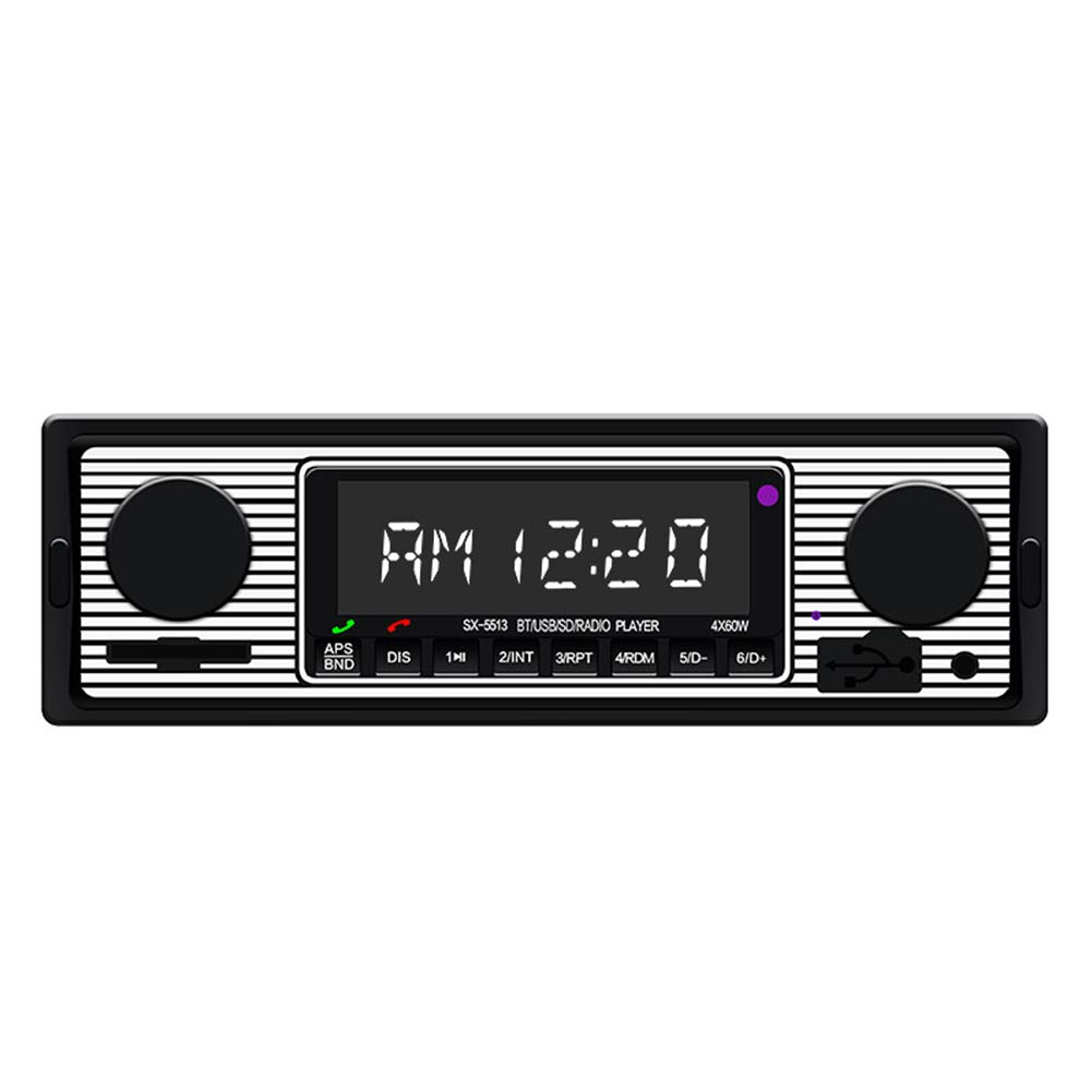 ETbotu Bluetooth Vintage Vehicle Car Radio MP3 Player Stereo USB AUX Classic Car Stereo Audio
