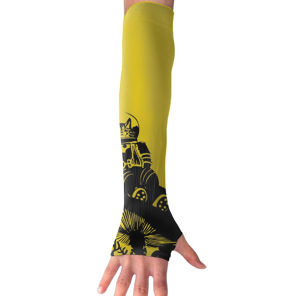Suining Unisex Cat Astronaut Sunscreen Outdoor Travel Arm Warmer Long Sleeves Glove