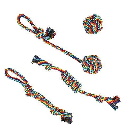 Vivifying Dog Rope Toys, Pack of 4 Durable Braided Cotton
