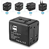 Travel Adapter Travel Charger Adapter Wall AC Power Plug Adapter Charger Universal Adapter Deepow Worldwide All in One Universal with Dual USB Charging Ports for USA EU UK AUS Cell Phone (Black)