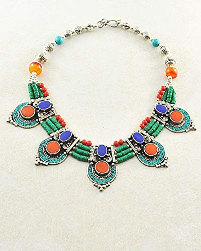 (Sivalya Bohemian Style Tibetan Choker Necklace with Turquoise Lapis and Coral Inlays, Summer Statement Jewelry for Women)