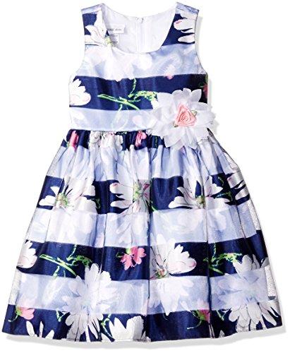 Bonnie Jean Little Girls' Floral Shadow Stripe Party Dress, Blue, 6 - Shadow Stripe Tie