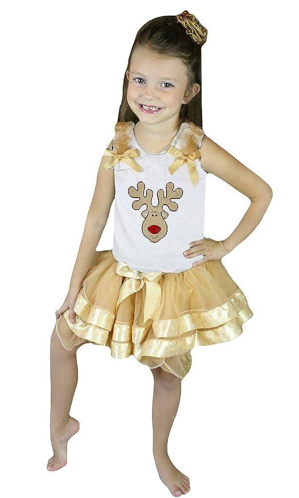 Petitebella Xmas Reindeer White Shirt Gold Star Petal Skirt Nb-8y
