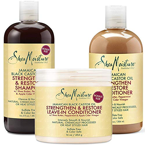 Shea Moisture Jamaican Black Castor Oil Combination Pack - Strengthen, Grow & Restore - Shampoo, 16.3 Oz, Conditioner 13 Oz. & Leave-In Conditioner 16 Oz (Winter Hair Care For Natural Black Hair)