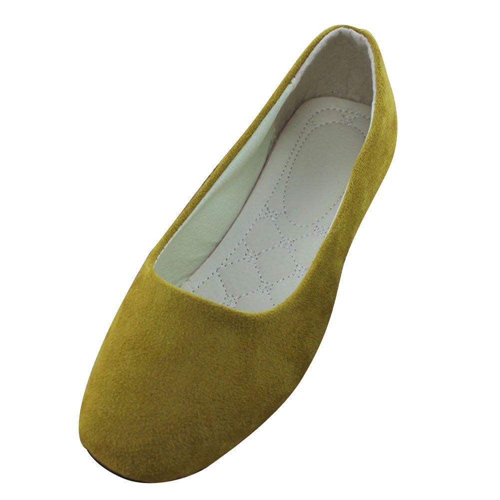 Scarpe da Donna Ballerine Basse Comode e Moda in Pelle Artificiale Slip On più Colori Disponibili Albicocca