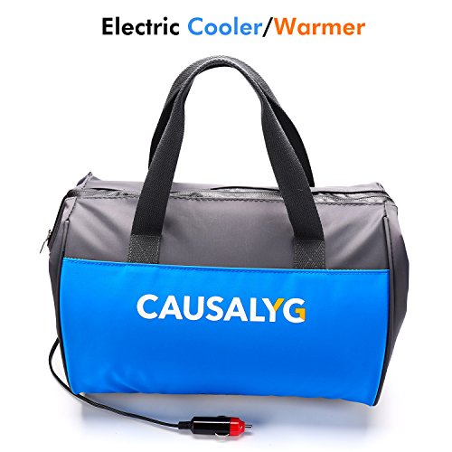 Causalyg 12 Volt DC Soft Electric Car Cooler/Warmer Bag, Portable Car Refrigerator/Fridge with Thermoelectric System for Camping, Road Trip, Picnic – 18L Capacity