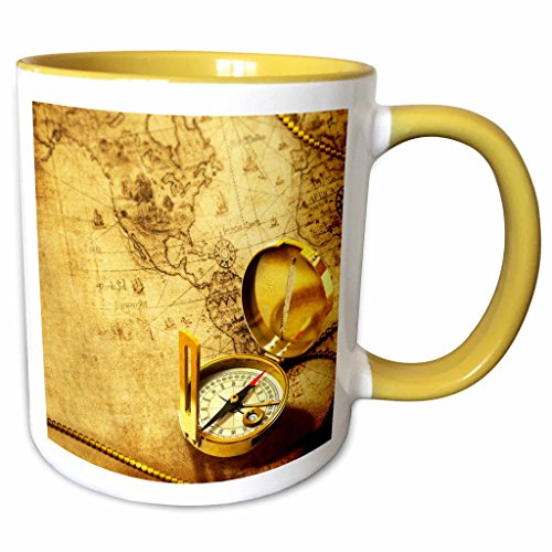 3dRose Brian Allen Childrens illustrations - Compass on a travellers map - 11oz Two-Tone Yellow Mug - Outlets Allen Map